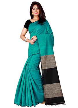Teal Cotton Saree