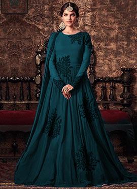 Teal Georgette Abaya Style Anarkali Suit