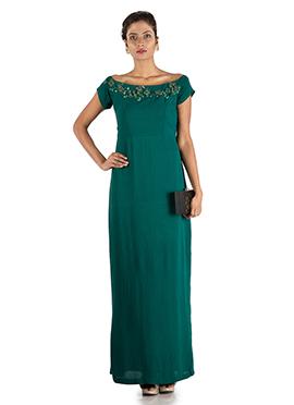 Teal Georgette Wide Shoulder Gown