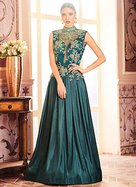 Teal Green Anarkali Gown