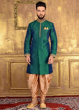 Teal Green Art Benarasi Silk Indowestern Sherwani