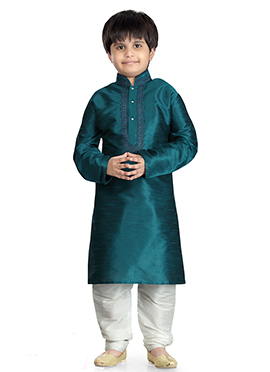 Teal Green Art Dupion Silk Kids Kurta Pyjama