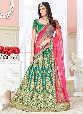 Teal Green Art Silk A Line Lehenga Choli