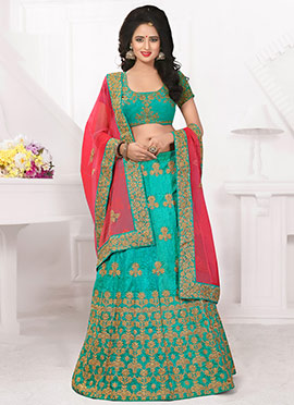 Teal Green Art Silk A Line Lehenga