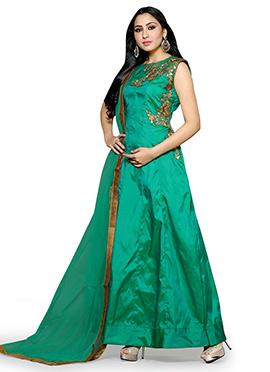 Teal Green Art Silk Anarkali Suit