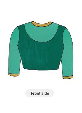Teal Green Art Silk Blouse with Net Sleeve