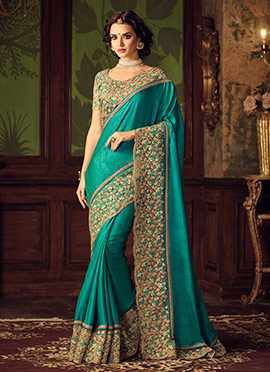 Teal Green Art Silk Border Saree