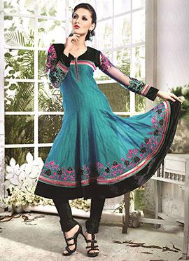 Teal Green Art Silk Cotton Anarkali Suit
