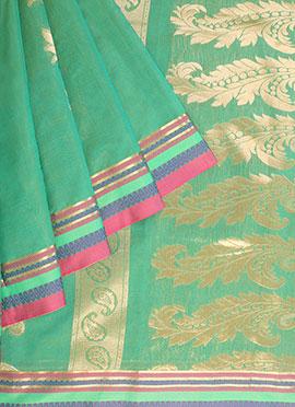 Teal Green Art Silk Cotton Saree