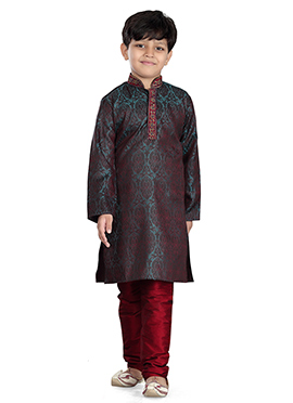 Teal Green Art Silk Kids Kurta Pyjama