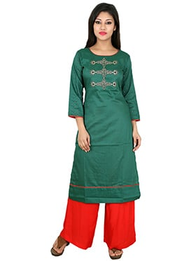 Teal Green Art Silk Kurti