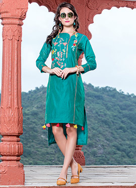 Teal Green Art Silk Kurti