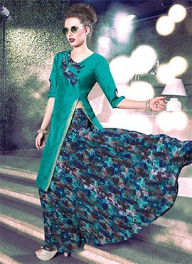 Teal Green Art Silk N Georgette Skirt Set