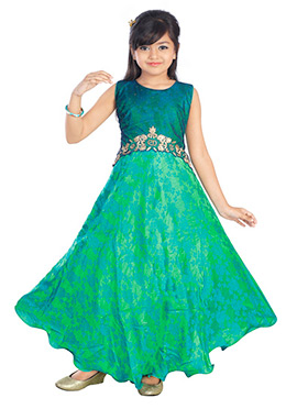 Teal Green Art Silk Net Kids Gown