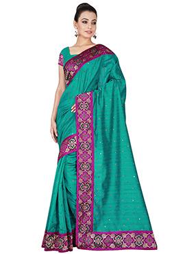 Teal Green Art Silk Saree