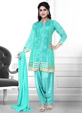 Teal Green Art Silk Semi Patiala Suit