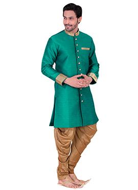 Teal Green Benarasi Art Silk Achkan Sherwani