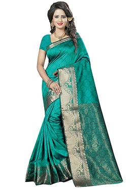 Teal Green Benarasi Cotton Saree
