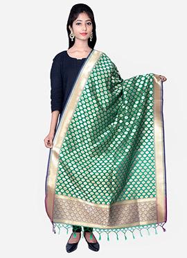 Teal Green Benarasi Silk Dupatta