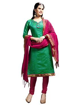 Teal Green Blended Cotton Churidhar Suit