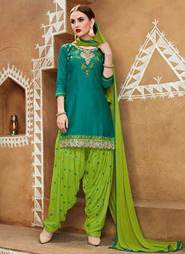 Teal Green Blended Cotton Salwar Suit