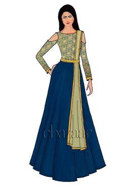 Teal Green Cold Shoulder Brocade Abaya Set