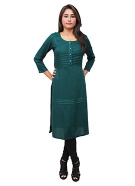 Teal Green Cotton Rayon Kurti