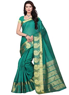 Teal Green Cotton Saree