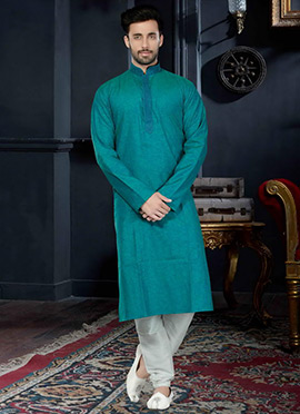 Teal Green Cotton Silk Kurta Pyjama