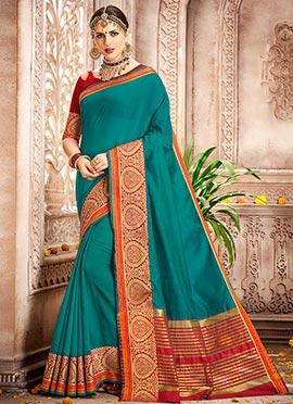Teal Green Cotton Silk Saree