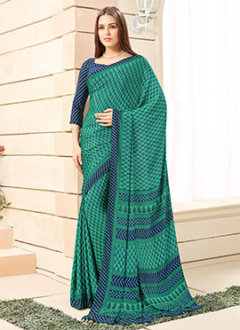 Teal Green Crepe Saree