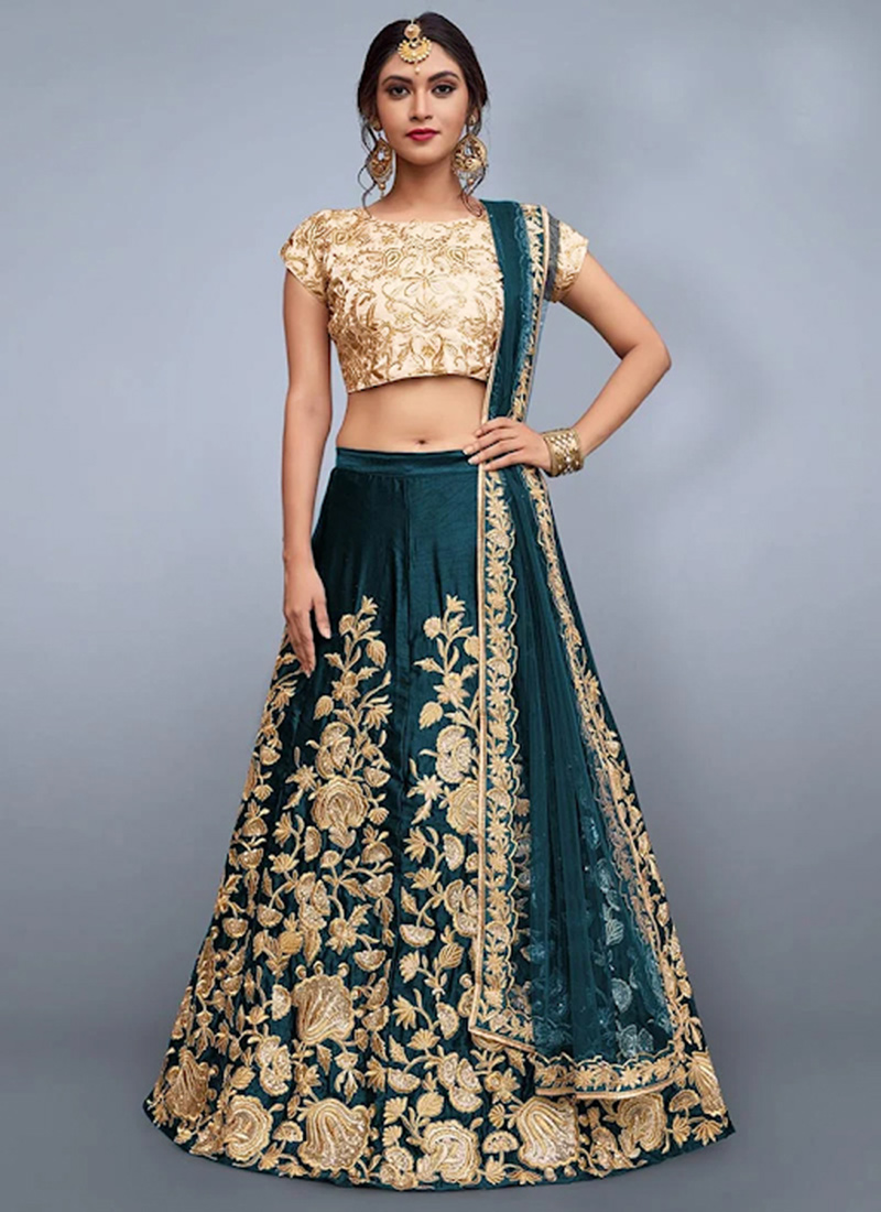 Buy Teal Green Embroidered A Line Lehenga Embroidered A