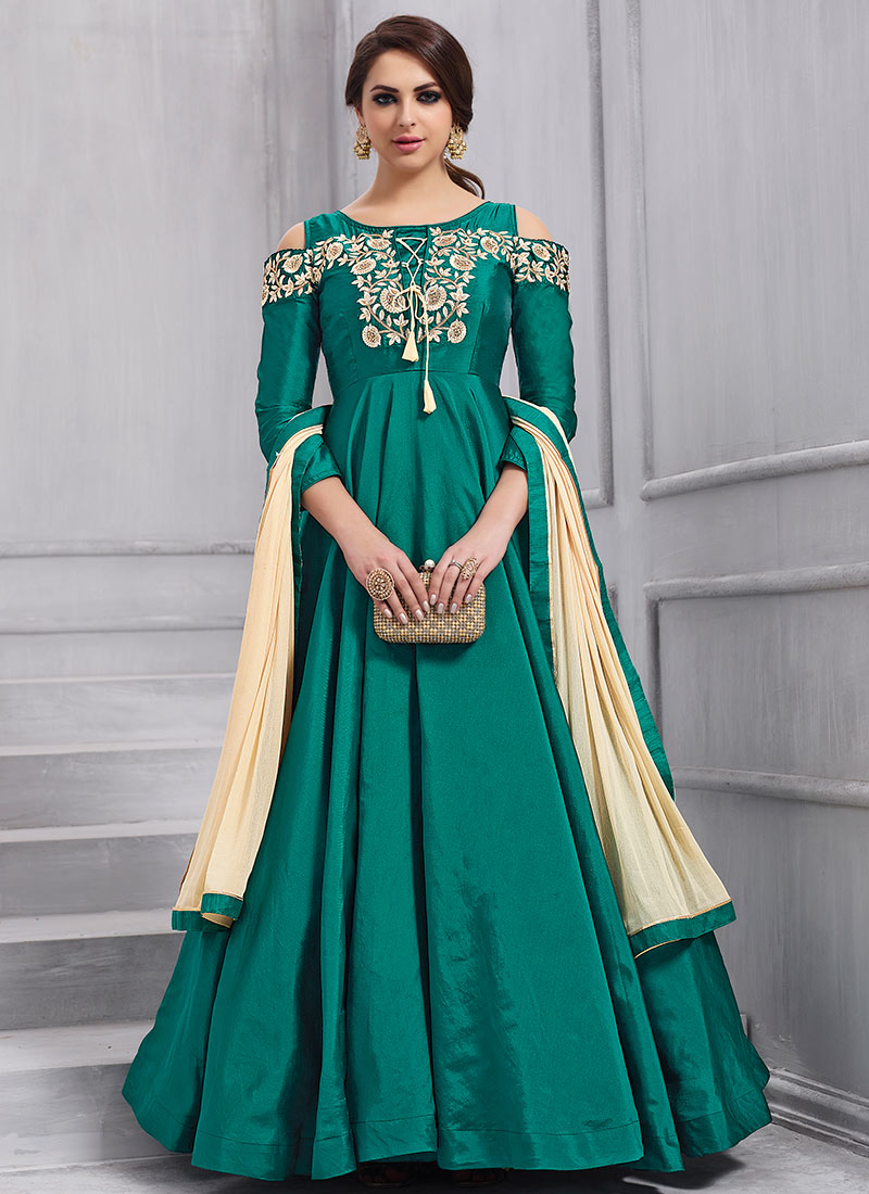 Buy Teal Green Embroidered Anarkali Gown Embroidered Dresses And