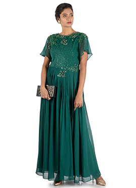 Teal Green Georgette Anarkali Gown