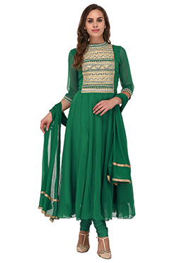 Teal Green Georgette Anarkali Suit