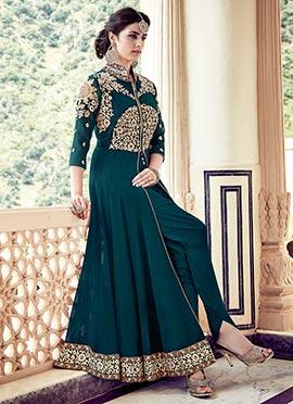 Teal Green Georgette Ankle Length Anarkali Suit