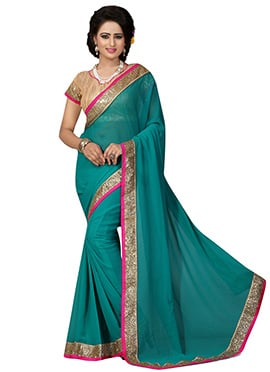 Teal Green Georgette Border Saree