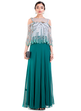Teal Green Georgette Cape Dress