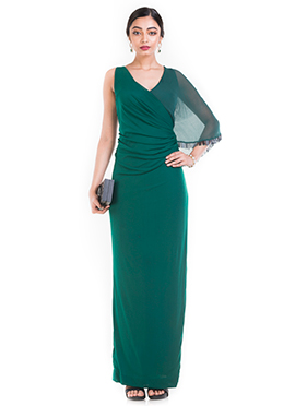 Teal Green Georgette N Lycra Dress