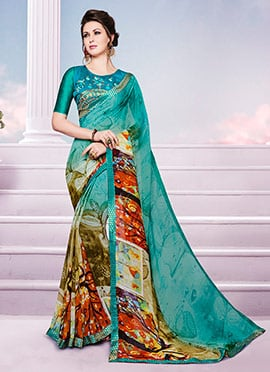 Teal Green Georgette Saree