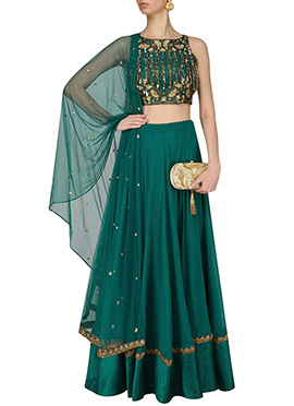 Teal Green Georgette Umbrella Lehenga Choli