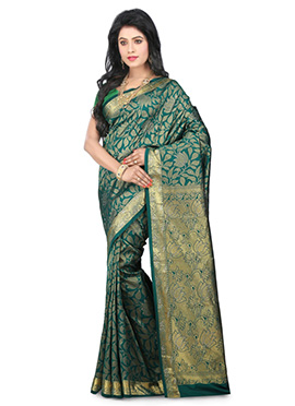 Teal Green Kancheepuram Pure Silk Saree