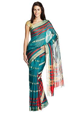 Teal Green Mysore Art Silk Striped Saree