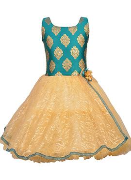 Teal Green N Beige Net Kids Gown