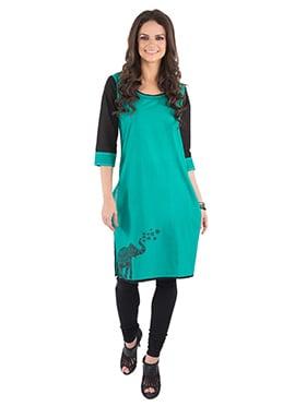 Teal Green N Black Blended Cotton Kurti