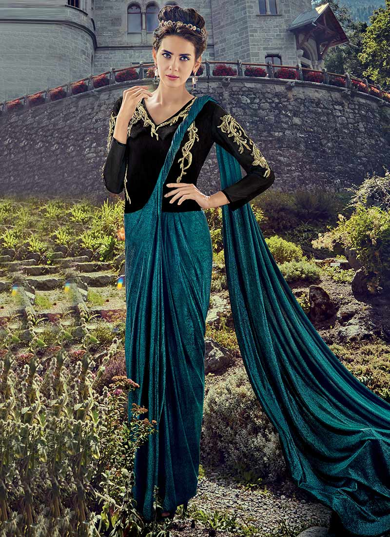 811e5bdf83 Buy Teal Green N Black Lycra Saree Gown, Embroidered, tops and ...