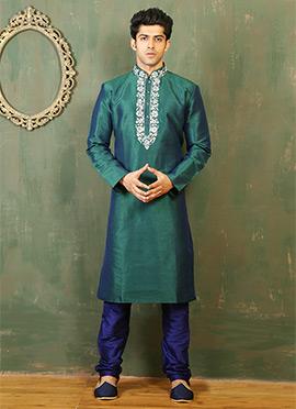 Teal Green N Blue Dual Tone Art Silk Kurta Pyjama