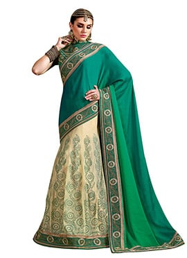Teal Green N Cream Lehenga Saree