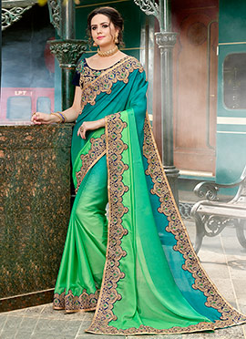 Teal Green N Green Dual Tone Chiffon Border Saree