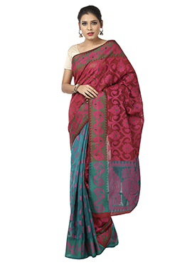 Teal Green N Maroon Reversible Saree